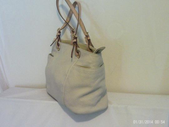 Michael Kors Leather Pebbled Tote in White