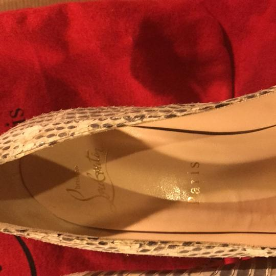 Christian Louboutin cream and grey Pumps Image 8