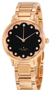 Kate Spade KATE SPADE New York Gramercy Black and Rose Scalloped Dial Rose Gold-plated Ladies Watch