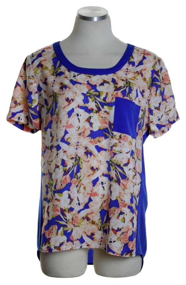 b2cd1f514d7dc J.Crew Blue Printed Pocket T-shirt Floral High-low Blouse Size 0 (XS ...