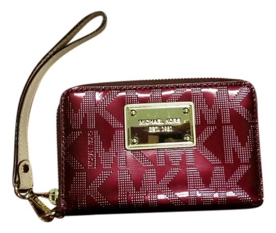 Michael Kors Leather Monogram Wristlet in Maroon Red