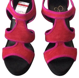 Jessica Simpson fuchsia and red Platforms