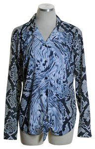 MICHAEL Michael Kors Long Sleeve Woven Animal Print Tie-front Button Down Shirt Blue