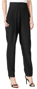 Rachel Roy Woven Pleated High Waist Tuxedo Trouser Pants Black