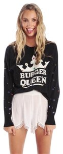 Wildfox Oversized Slouchy Rhinestones Cotton Sweater