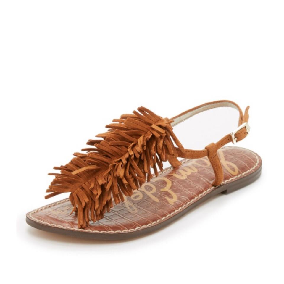 feaa92893346 Sam Edelman Brown Gela Fringe Flat Sandals Size US 8 Regular (M