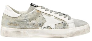 Golden Goose Deluxe Brand May Distressed Metallic New Sneakers light gray, white Athletic