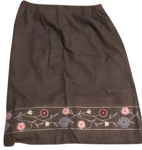 dressbarn Flowers Skirt Grey