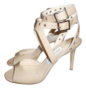 Jimmy Choo Blast Patent Leather Ankle Strap Open Nude Sandals