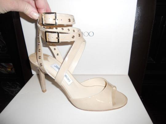 Jimmy Choo Blast Patent Leather Ankle Strap Open Nude Sandals Image 11