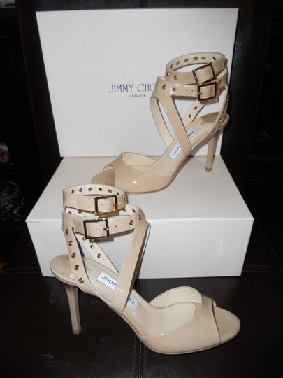 Jimmy Choo Blast Patent Leather Ankle Strap Open Nude Sandals Image 3