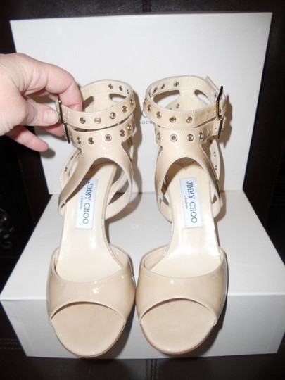 Jimmy Choo Blast Patent Leather Ankle Strap Open Nude Sandals Image 4