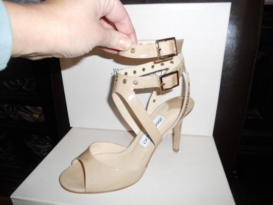 Jimmy Choo Blast Patent Leather Ankle Strap Open Nude Sandals Image 6