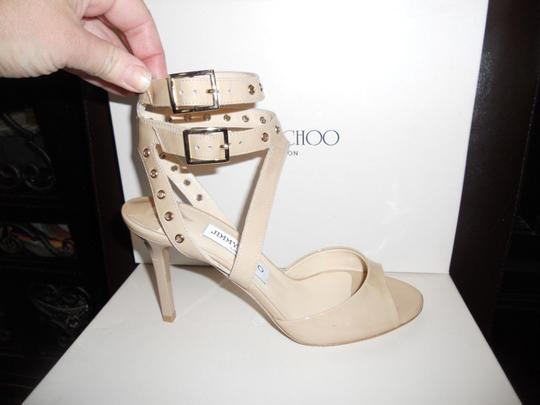 Jimmy Choo Blast Patent Leather Ankle Strap Open Nude Sandals Image 8