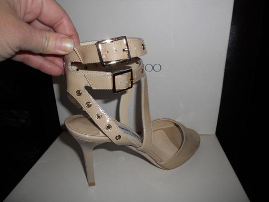 Jimmy Choo Blast Patent Leather Ankle Strap Open Nude Sandals Image 9