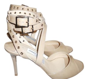 Jimmy Choo Blast Patent Leather Ankle Strap Open Toe Nude Sandals