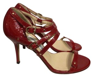 Jimmy Choo Blast Patent Leather Ankle Strap Open Toe Red Sandals