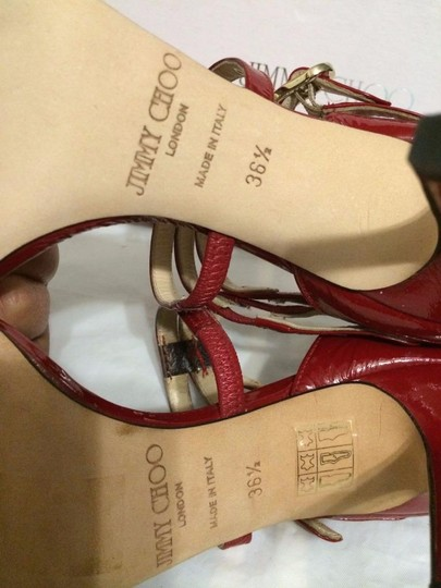 Jimmy Choo Blast Patent Leather Ankle Strap Open Red Sandals Image 3
