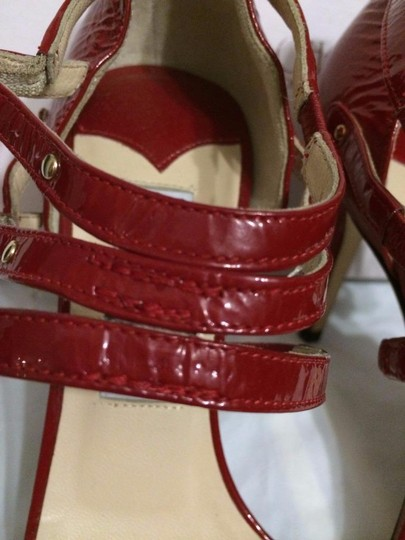 Jimmy Choo Blast Patent Leather Ankle Strap Open Red Sandals Image 5