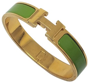 Hermès 18K yellow gold-plated Hermes Narrow Clic Clac H 2011 O