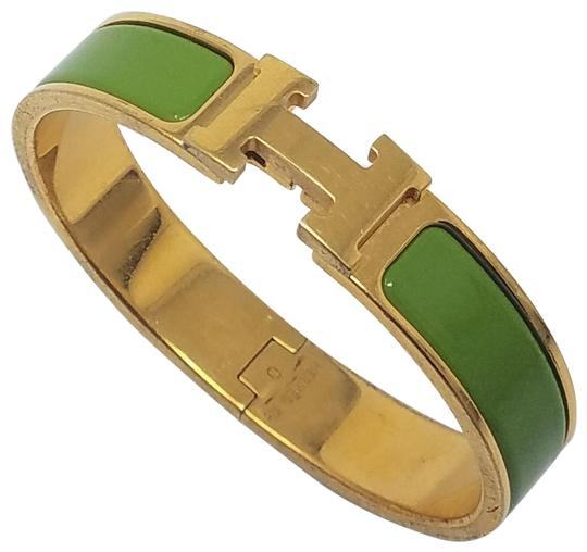 Preload https://img-static.tradesy.com/item/21075692/hermes-gold-green-18k-yellow-gold-plated-narrow-clic-clac-h-2011-o-bracelet-0-3-540-540.jpg