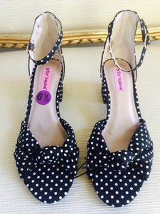 Betsey Johnson Dots Fabric Heels Black and White Sandals