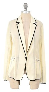 Rag & Bone Crisp Sheer Cotton Piped Cream Blazer