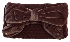 Juicy Couture Velvet Bow Brown Clutch