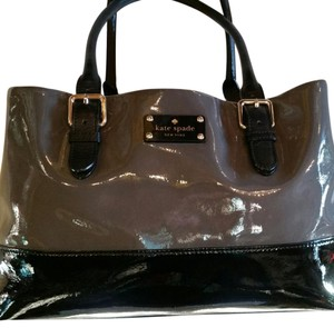 Kate Spade Very Stylish Shiny Patent Leather Patent Ombre Color-blocking Satchel in Gray