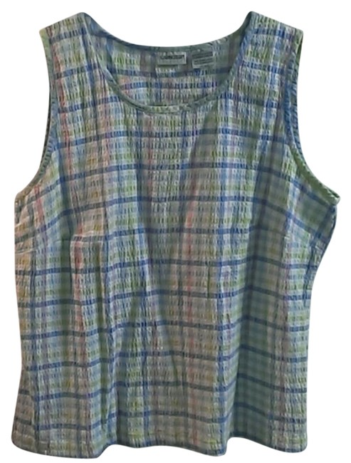 Item - White Blue Green Lavender Very Colorful Tank Top/Cami Size 22 (Plus 2x)