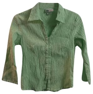 Faded Glory Junior Stretchy Shirt Lime Button Down Shirt Green