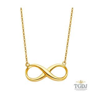 Top Gold & Diamond Jewelry 14K Yellow Gold Infinity Necklace - 17+1