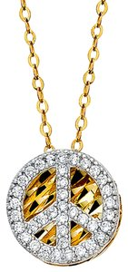 Top Gold & Diamond Jewelry 14K Yellow Gold CZ Peace Sign Necklace - 17+1