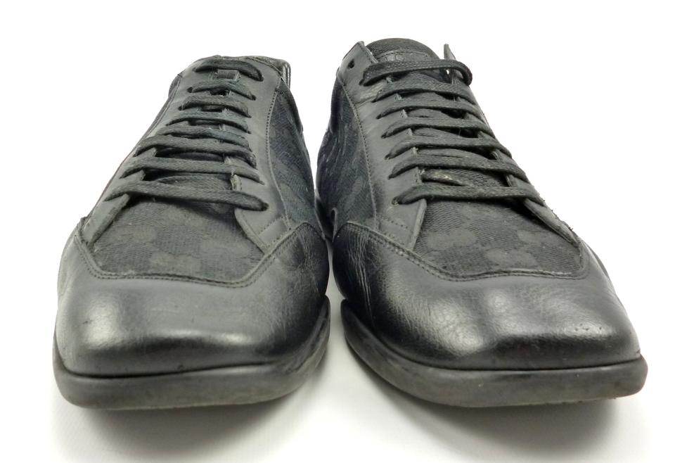 cc2cd0c6b70 Gucci Black Men s Leather Canvas Gg Sneakers Shoes Image 10. 1234567891011