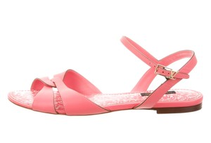 Louis Vuitton Logo Lv Monogram Gold Hardware Strappy Ankle Strap Pink, Gold Sandals