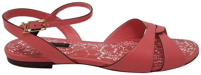 Item - Pink Gold Leather Gold-tone Lv Logo Strappy Sandals Size EU 38 (Approx. US 8) Regular (M, B)
