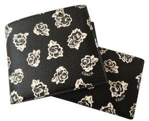 Coach NEW COACH men's white floral print black leather wallet with ID case