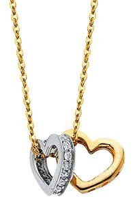Top Gold & Diamond Jewelry 14K Two Tone CZ Double Heart Necklace - 17+1