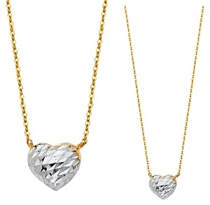 Top Gold & Diamond Jewelry 14K Two Tone Heart Necklace - 17+1