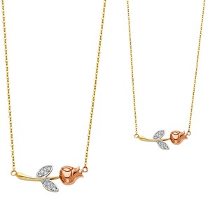 Top Gold & Diamond Jewelry 14K Tri Color CZ Flower Necklace - 17+1