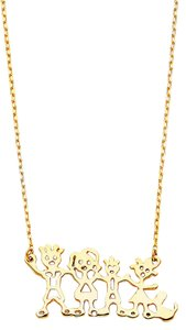 Top Gold & Diamond Jewelry 14K Yellow Gold Our Family Necklace - 17+1