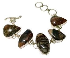 New Jasper Bracelet Set 925 Silver Brown Large Gemstones J745