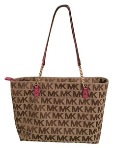 Michael Kors Monogram Leather Trim Pink Brown Tote in brown monogram