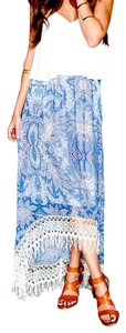 Show Me Your Mumu Classic Print Lace Crochet Bohemian Fesitval Convertible Dress Maxi Skirt Blue