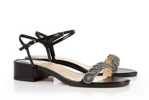 Christian Louboutin Grekoronda Shagreen Embossed Black Sandals