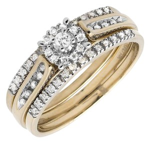 Other Ladies Genuine Diamond Trio Set Engagement Band Ring (0.25ct)