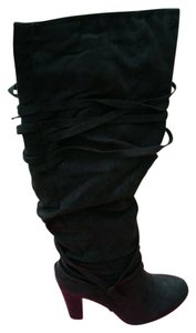 ShoeDazzle Wide Black Knee High Boots