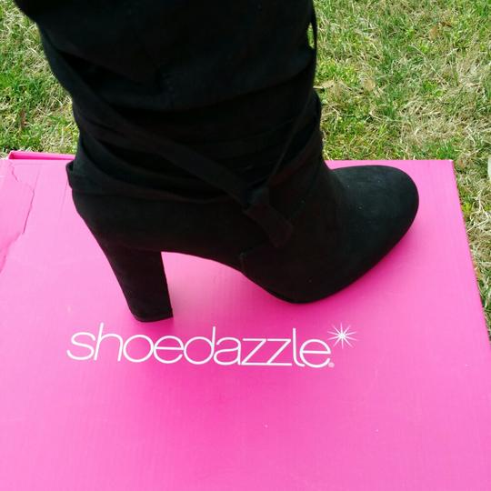 ShoeDazzle Wide Black Knee High Boots Image 1