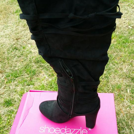 ShoeDazzle Wide Black Knee High Boots Image 2