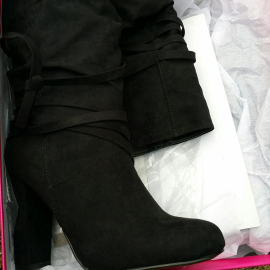 ShoeDazzle Wide Black Knee High Boots Image 5